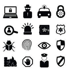 Computer and cyber security icons vector