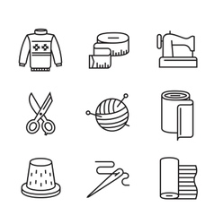 black flat sewing and needlework vector image vector image
