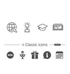 book graduation cap and internet tutorial vector image vector image