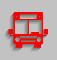 Bus sign red icon with soft vector