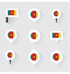 cameroon flag and pins for infographic and map vector image vector image