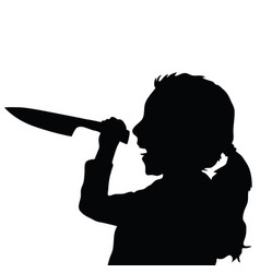 children silhouette with knife in black color vector image vector image