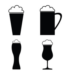collection of beer glass icons and vector image