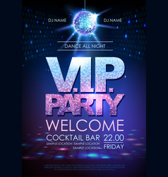 disco ball background disco poster vip party vector image vector image