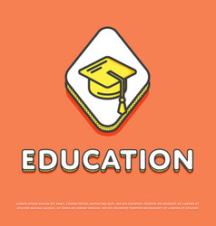 education icon with graduation cap vector image vector image