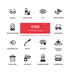 eyes - line design silhouette icons set vector image vector image