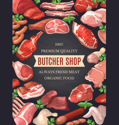 food pictures set of meat poster vector image