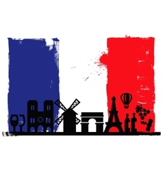 France flag and silhouettes vector image vector image