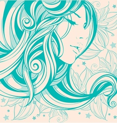 graphic drawing face girl hair long curls vector image vector image