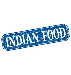 Indian food blue square vintage grunge isolated vector