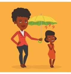 Insurance agent holding umbrella over woman vector
