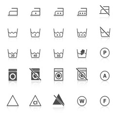Laundry icons with reflect on white background vector