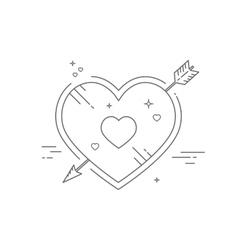 Line heart vector image