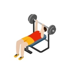 Man exercising on bench press icon isometric 3d vector