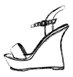 monochrome blurred contour of sandal shoe with vector image