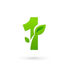 Number one 1 eco leaves logo icon design template vector