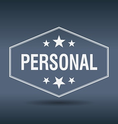 Personal hexagonal white vintage retro style label vector
