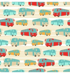 Retro seamless travel pattern of buses vector