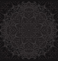 Seamless texture with black carved pattern vector