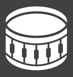 Snare drum glyph icon music and instrument vector