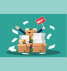 stressed cartoon businessman in pile papers vector image