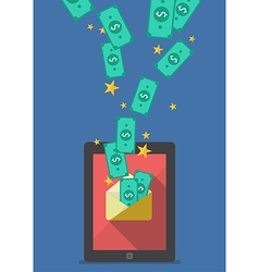 Tablet with banknote in envelope vector