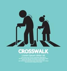 The elderly on the crosswalk symbol vector