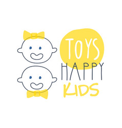 Toys happy kids logo colorful hand drawn vector