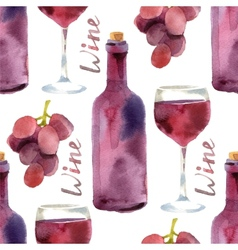 Watercolor wine seamless vector