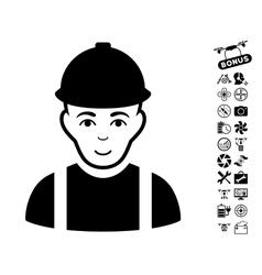 Worker icon with copter tools bonus vector