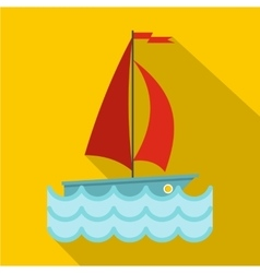 Yacht with red sails icon flat style vector