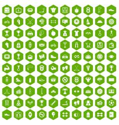 100 boxing icons hexagon green vector image