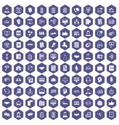 100 discussion icons hexagon purple vector image vector image