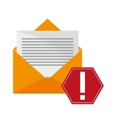 Message envelope and warning sign icon vector