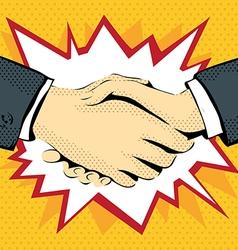 retro graphics drawing handshake vector image