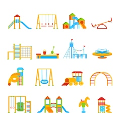 Playground equipment icon set vector