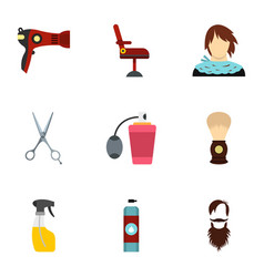 barbershop icons set flat style vector image