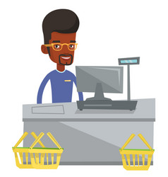 cashier standing at the checkout in supermarket vector image