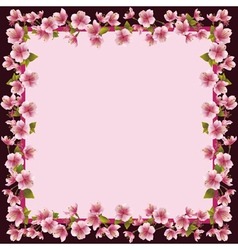 Floral frame with sakura blossom - japanese cherry vector