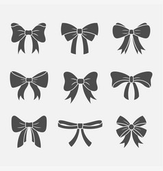 Bows with ribbons set vector