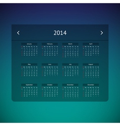 Calendar page for 2014 vector