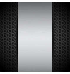 Brushed metallic panel on black mesh vector