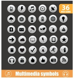 Multimedia symbols big set silver color vector