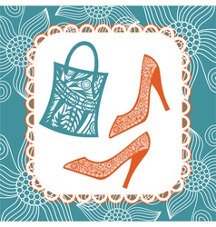Bag and shoes pattern vector image