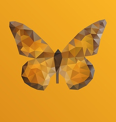 Orange bright butterfly in polygonal technique vector
