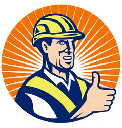 Construction hardhat thumb up vector