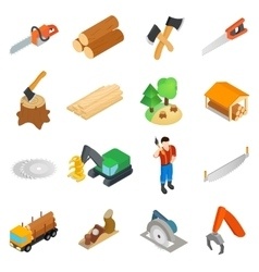 Lumberjack icons set isometric 3d style vector