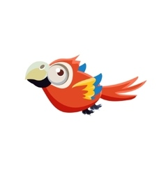 Cute red macaw parrot vector