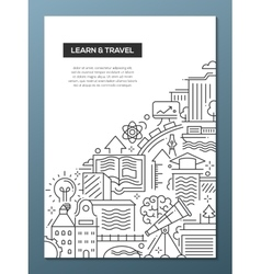 Learn and travel composition - line flat design vector
