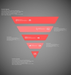 Triangle infographic template consists of five red vector